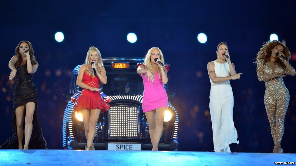 The Spice Girls performing at the London Olympics