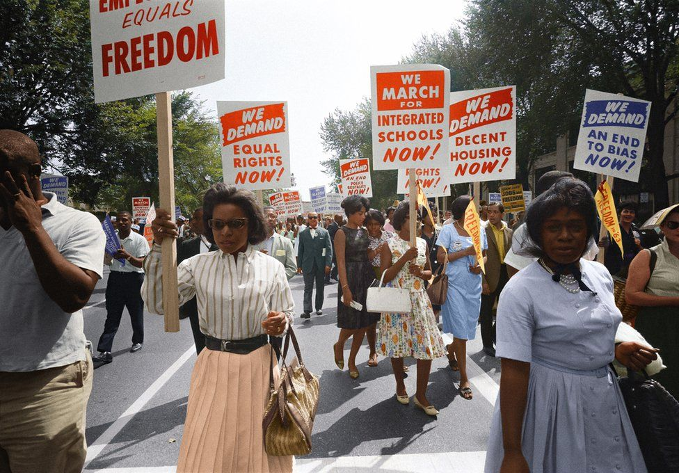 Marchers with placards at the March on Washington