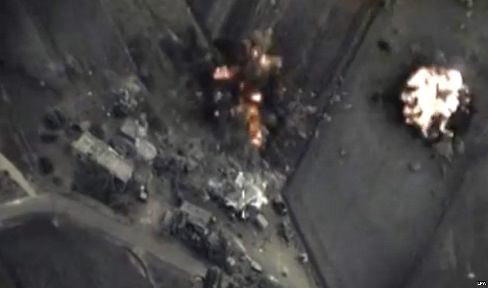 Russian airstrikes captured by the country's defence service cameras