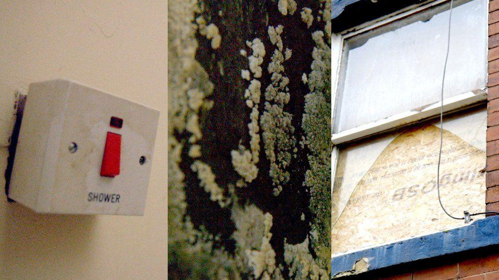 Faulty electrics, damp and broken windows.