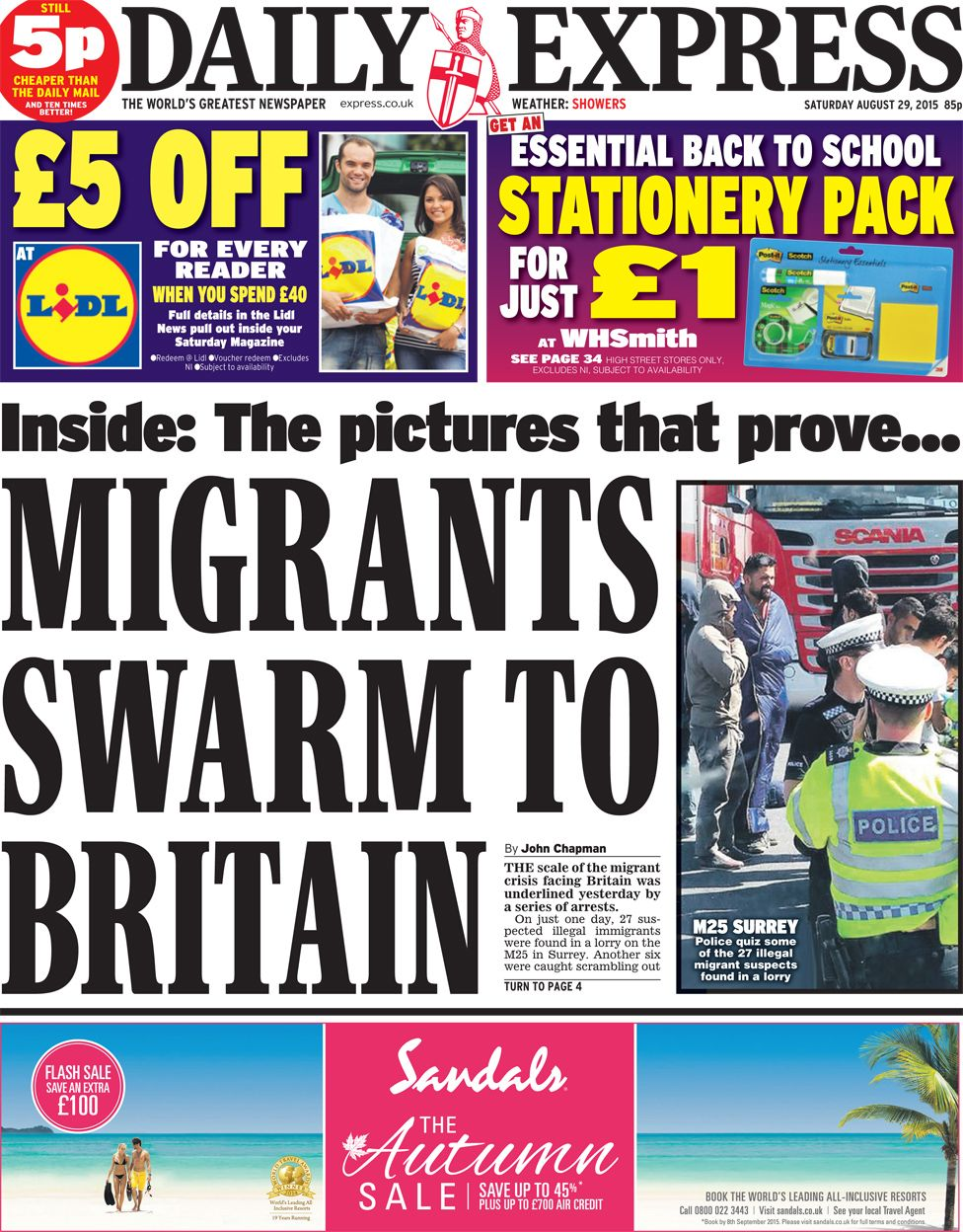 Newspaper Headlines Migration Facebook And Lords Reform