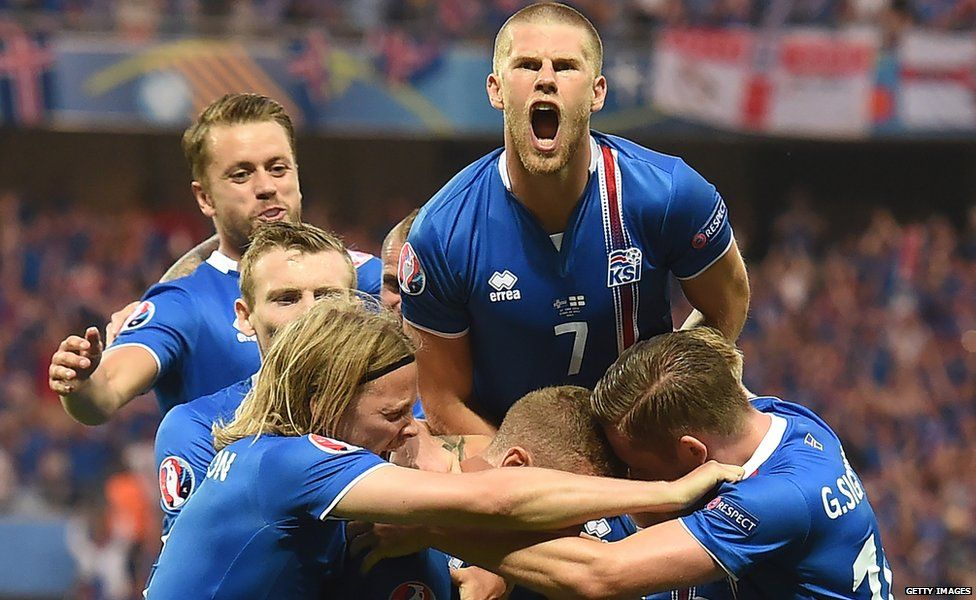 Iceland players celebrate a