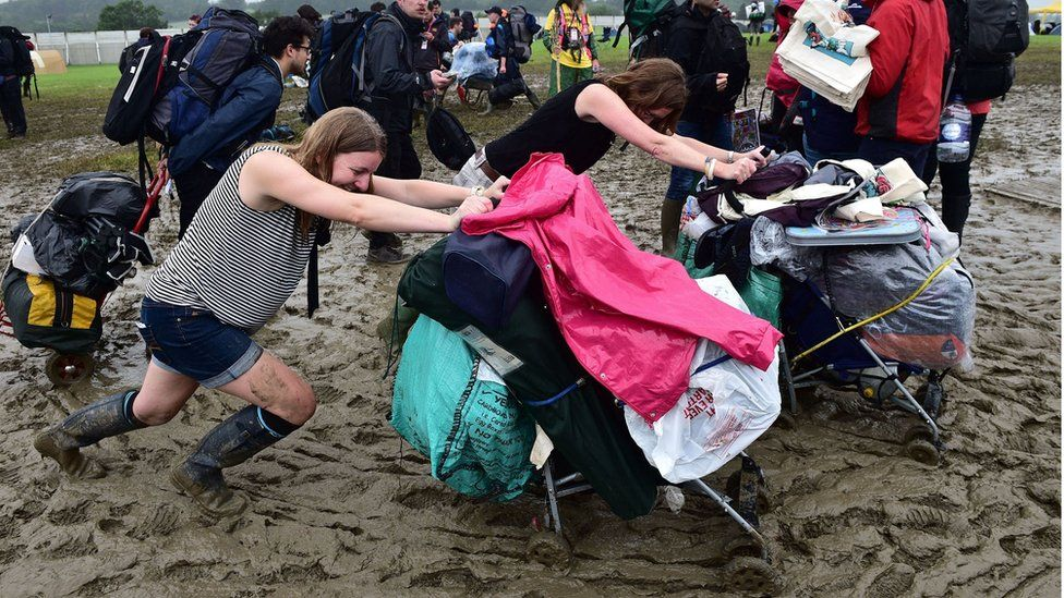 Festival-goers arrive for the Glastonbury Festival