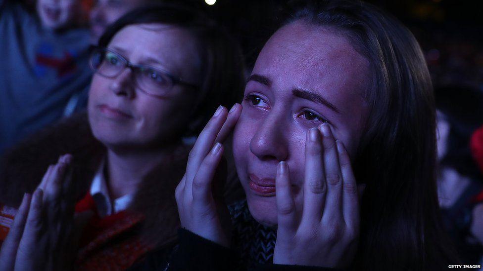 Clinton supporter in tears