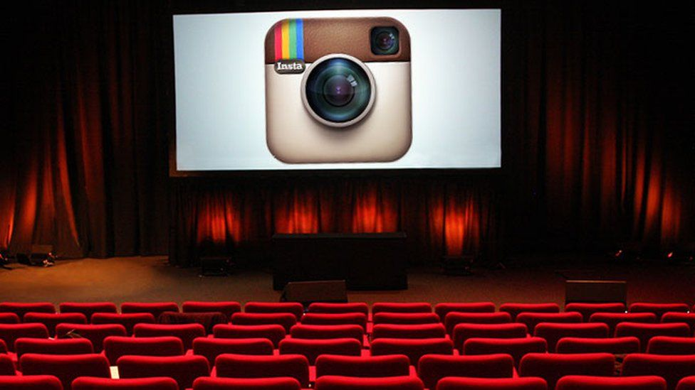 Image showing Instagram on a cinema screen