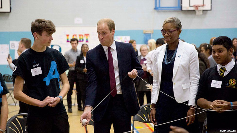 Tessy from the Diana Award with the Duke of Cambridge during a group exercise to build confidence