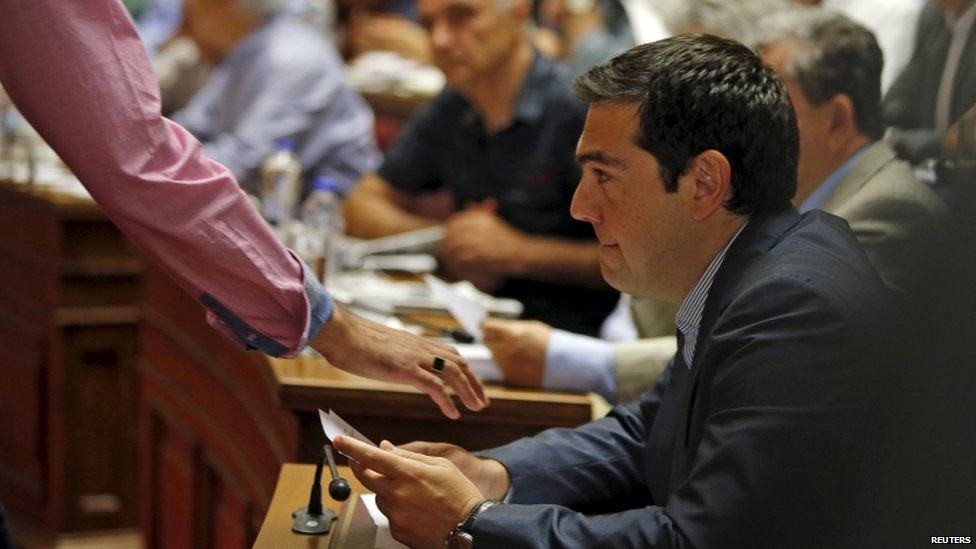 Alexis Tsipras at a Syriza party meeting, 10 July