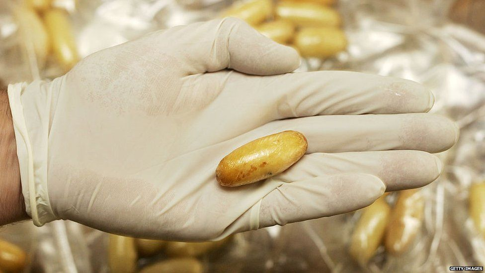 Cocaine can be smuggled across borders in capsules, which are swallowed