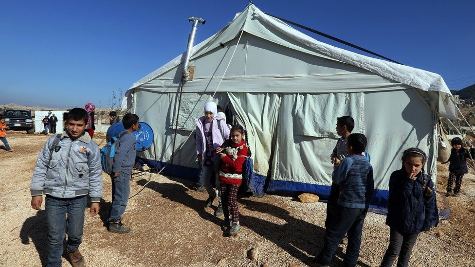 Young people in the refugee camp in Lebanon's Bekaa Valley