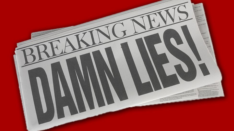 "A newspaper headline saying ""Damn Lies"""
