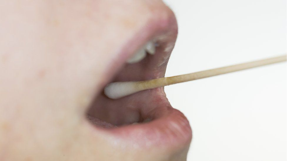 A patient receives a swab test