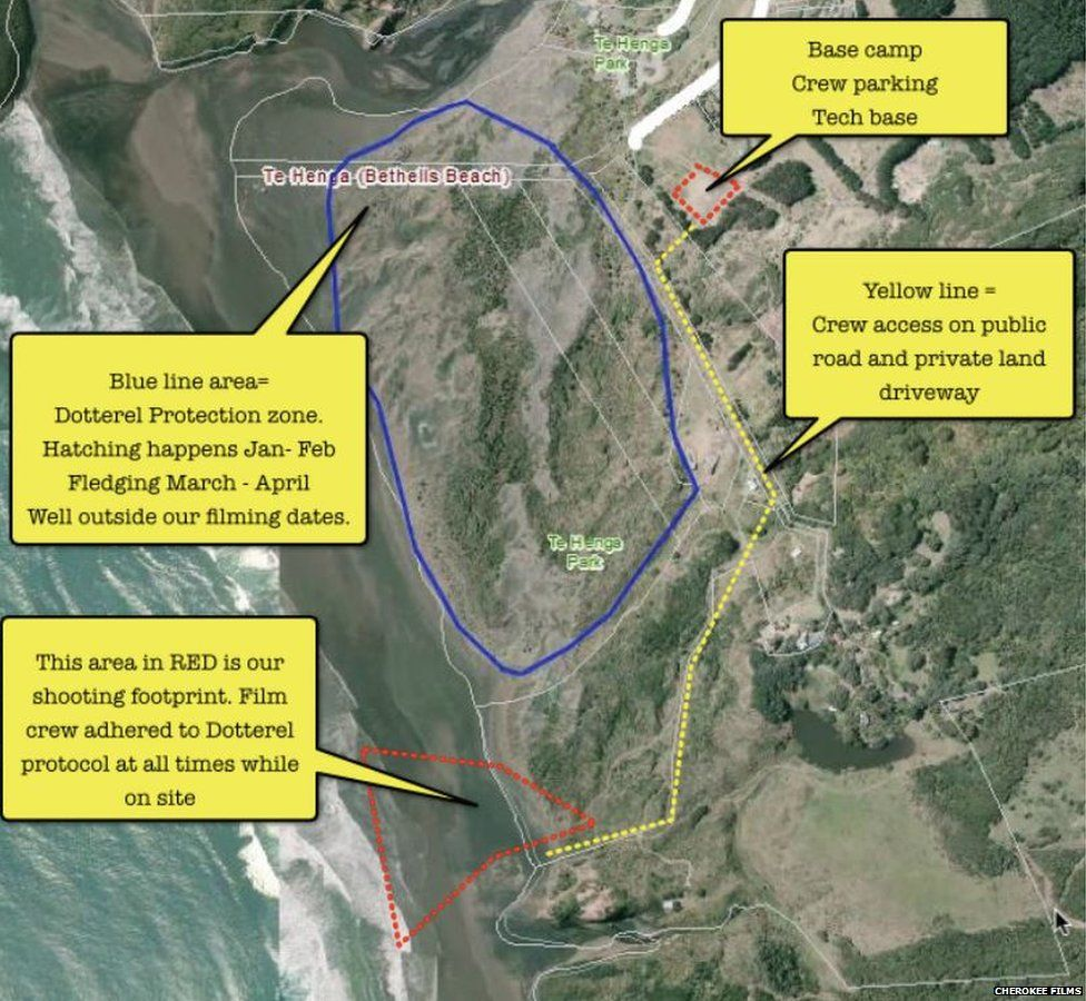 Map of area at Bethells Beach that Cherokee Films were allowed to film on