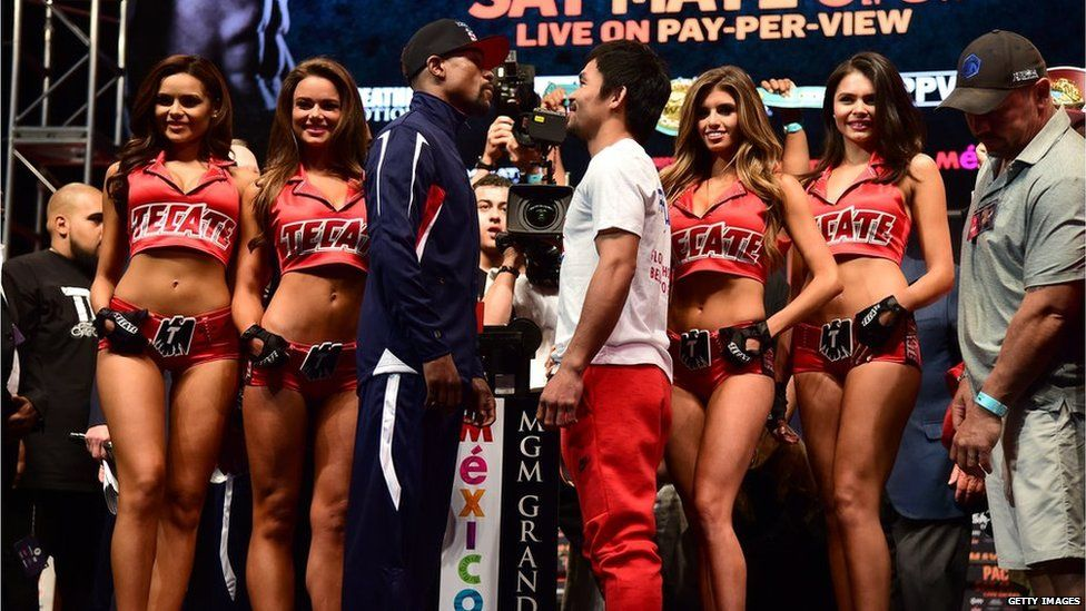 Janira working at her first fight between Mayweather and Manny Pacquiao