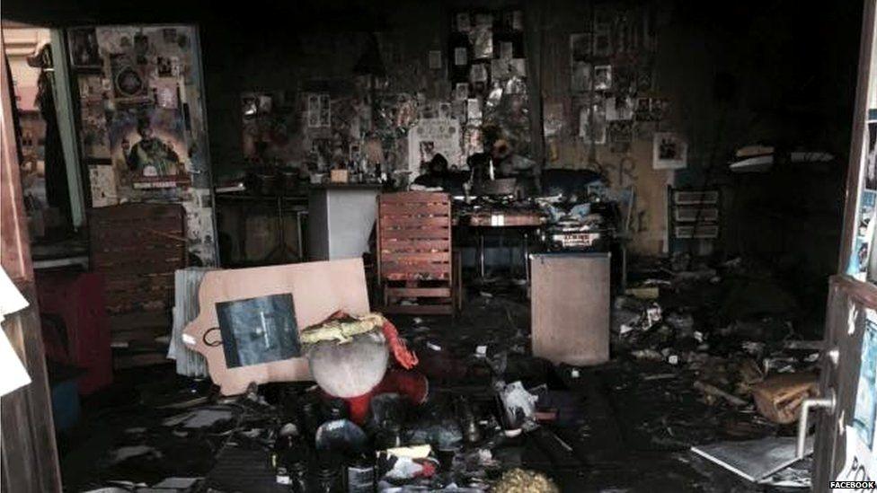 Inside the fire damaged room