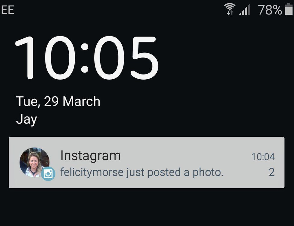 A screengrab of what it looks like when you have notifications enabled for a user on Instagram