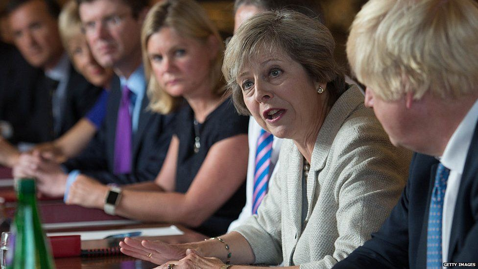 Theresa May at cabinet table