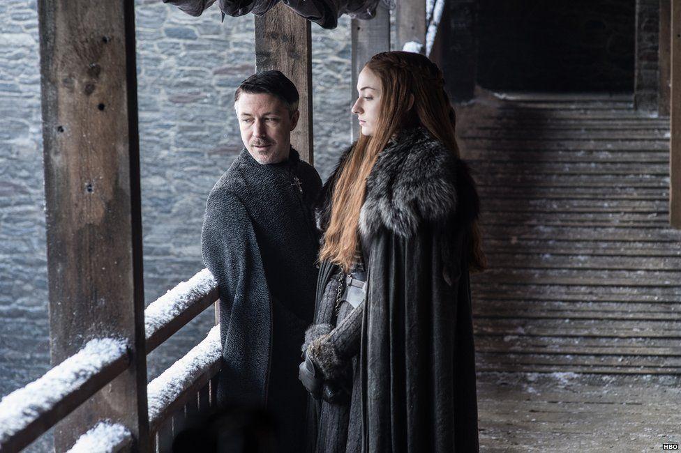 Aidan Gillen as Petyr Baelish and Sophie Turner as Sansa Stark