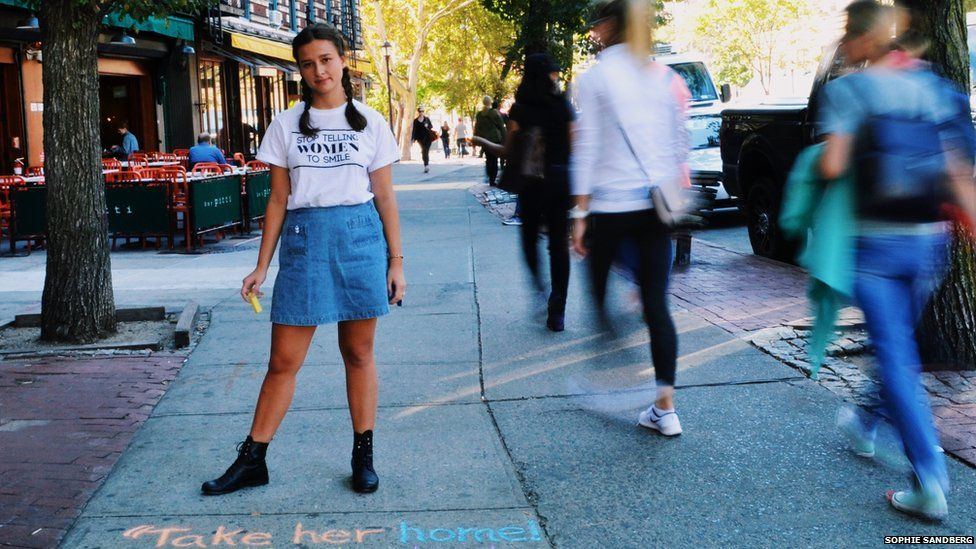 Sophie Sandberg in New York just having written on the pavement