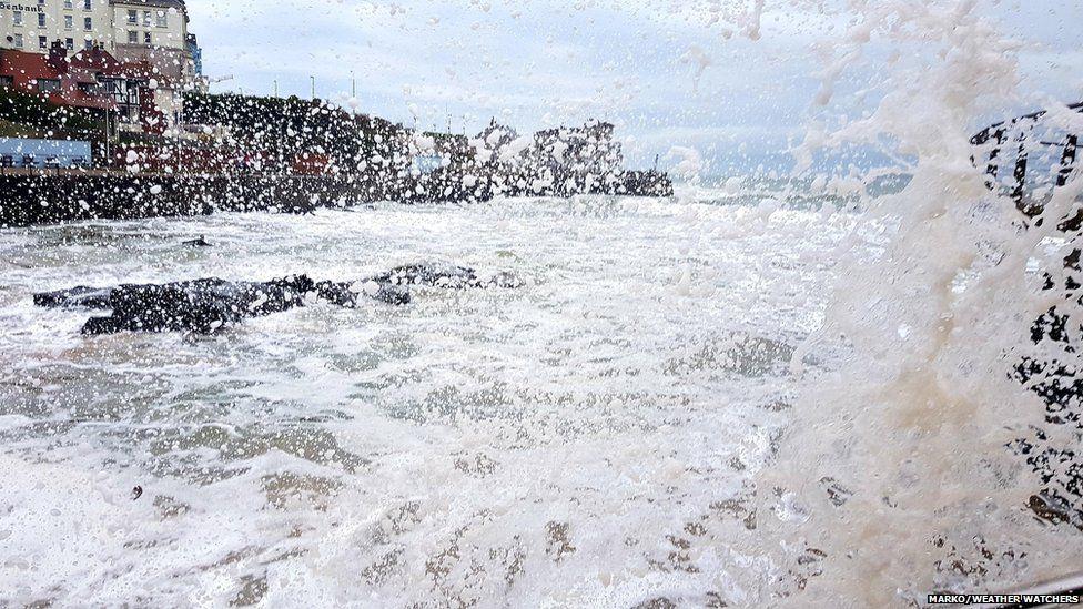 Crashing waves by the coast