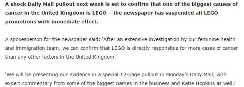southend news network posted about the Daily Mail and Lego