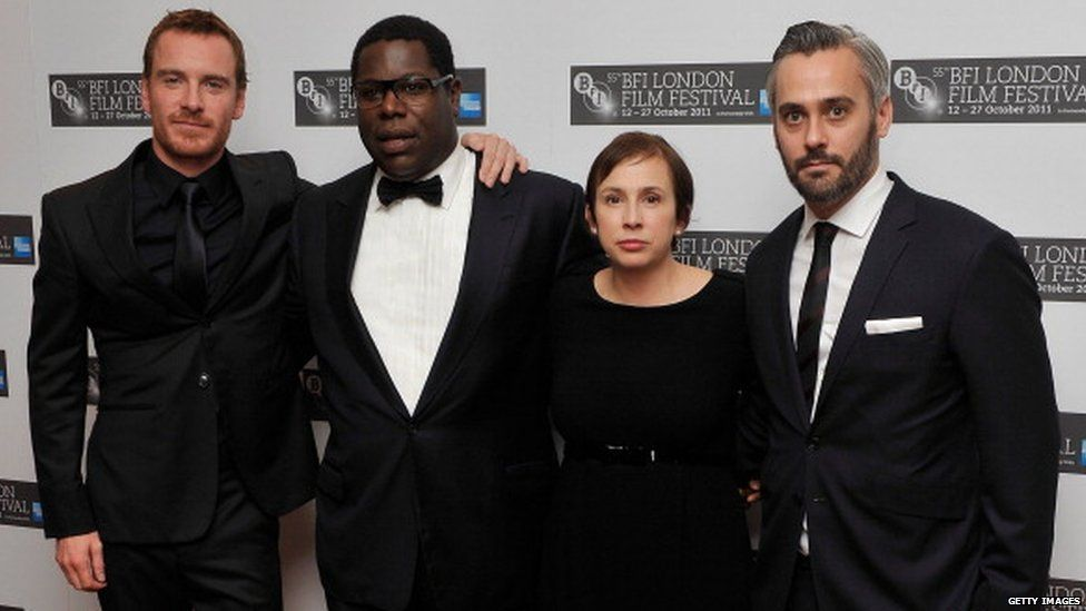 (left to right) Michael Fassbender, director Steve McQueen, screenwriter Abi Morgan and producer Iain Canning