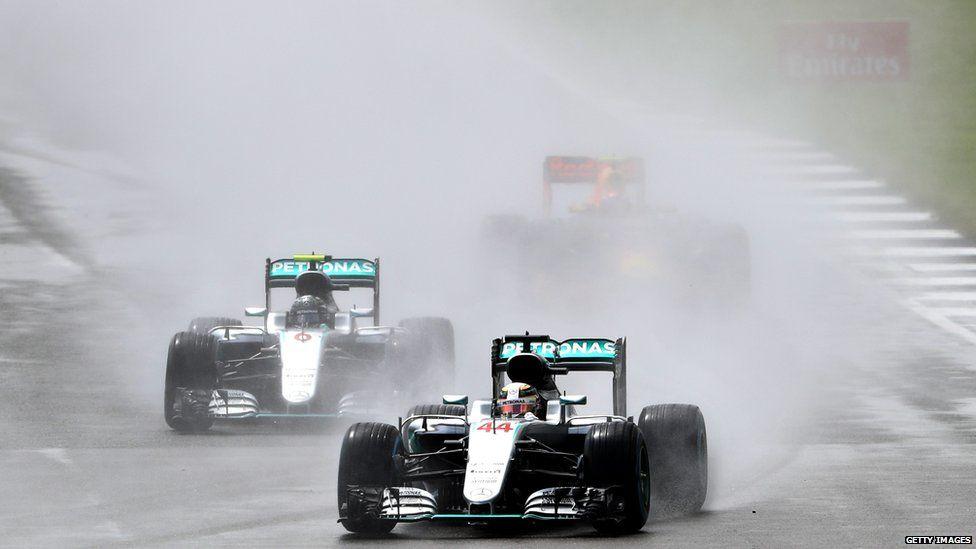 Lewis Hamilton races in the British Grand Prix