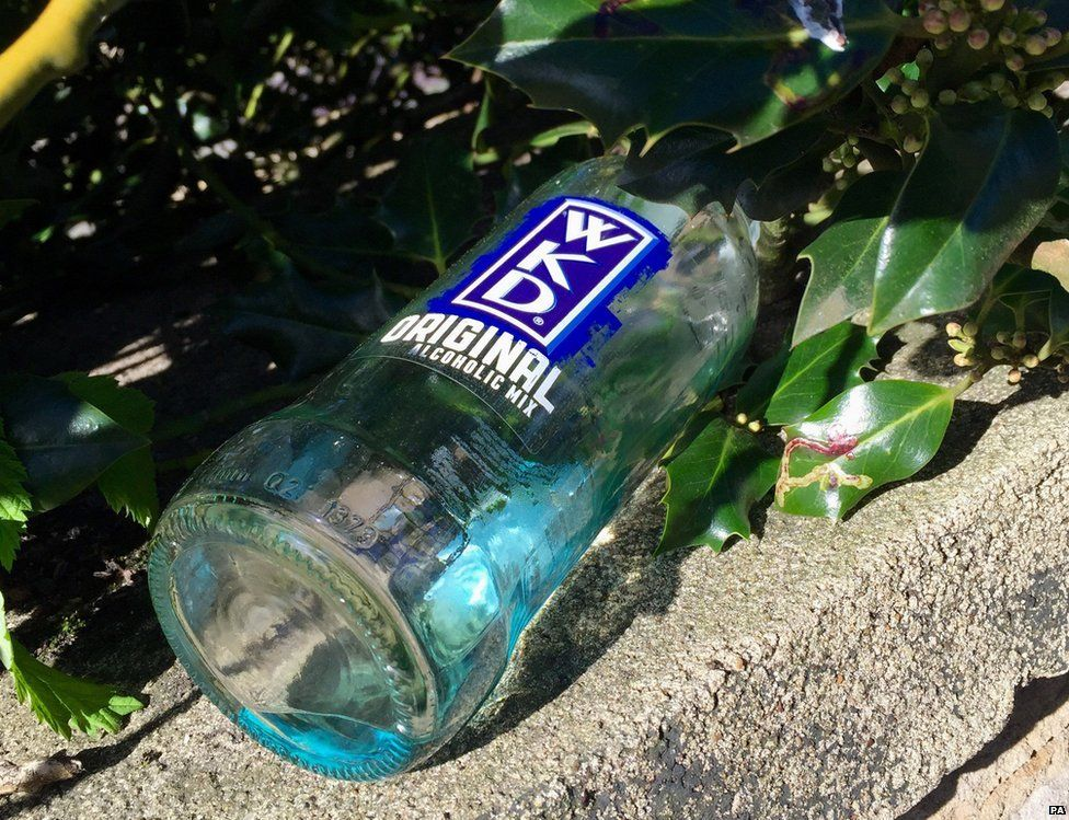 An empty bottle of WKD outside Jamie Vardy's house. Other alcopops are available