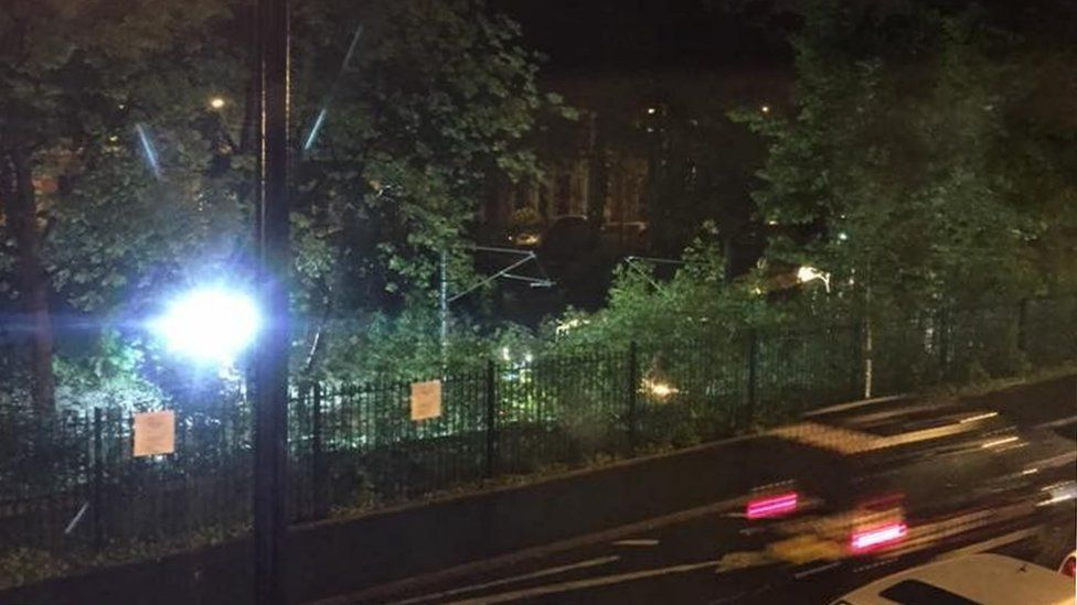 View from Ilford Road resident's window of overnight working on Metro line