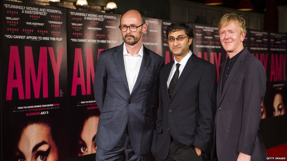 Producer James Gay-Rees, director Asif Kapadia and editor Chris King at the premiere of Amy
