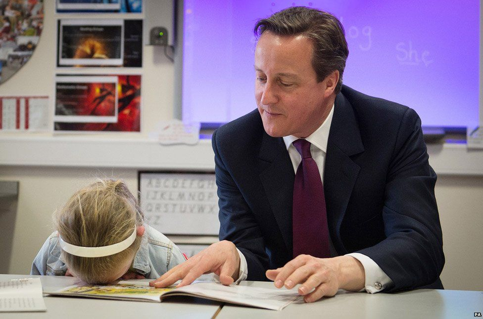 Lucy Howarth face-plants the table as the former PM reads a story