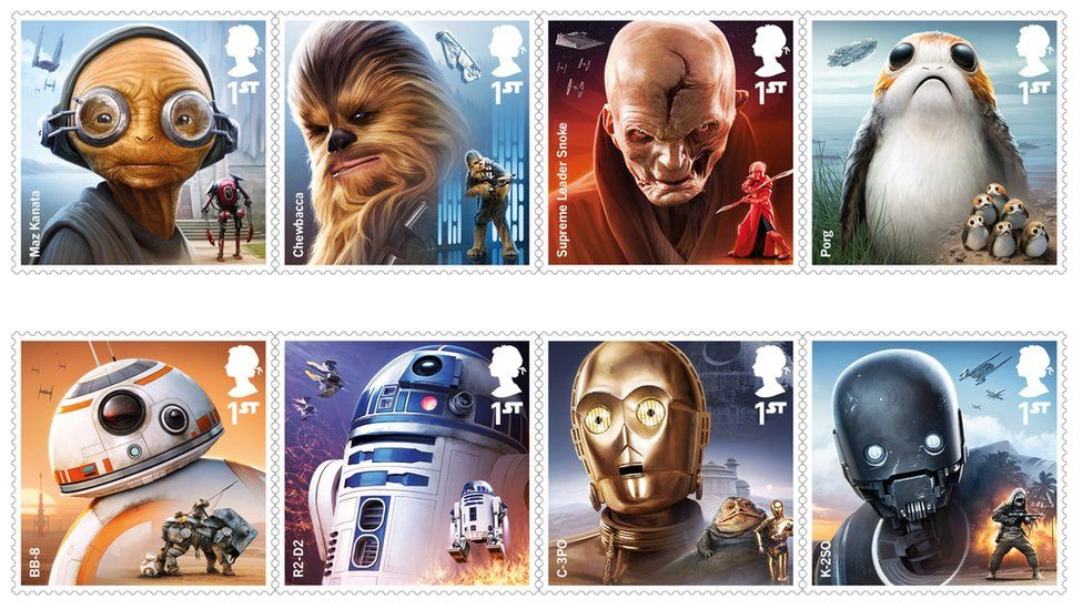 Characters in the new Star Wars Royal Mail set