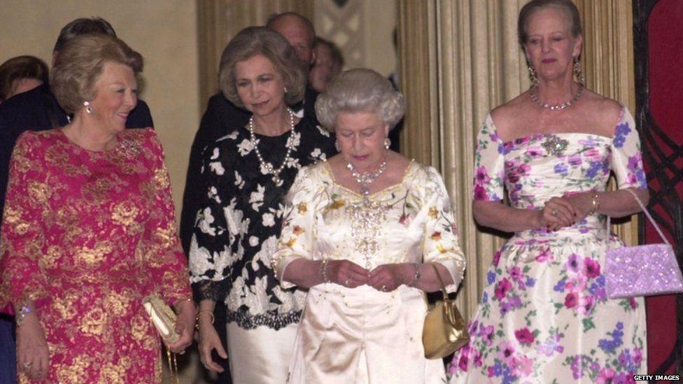 Queen Beatrix of the Netherlands, Queen Sofia of Spain, and Queen Margrethe II of Denmark celebrate Queen Elizabeth's Golden Jubilee in 2002