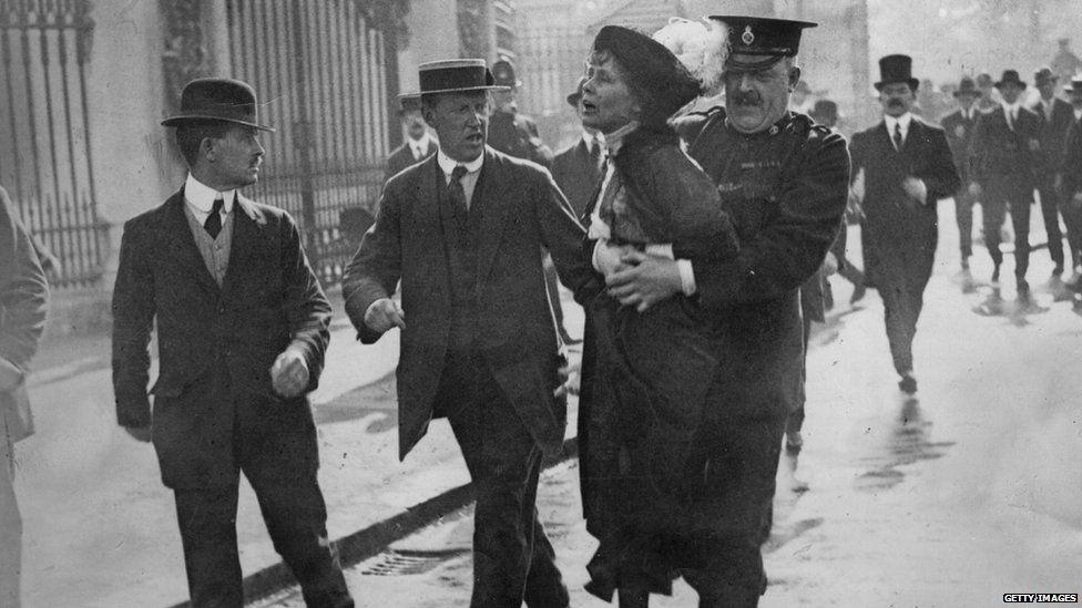 Emmeline Pankhurst getting arrested