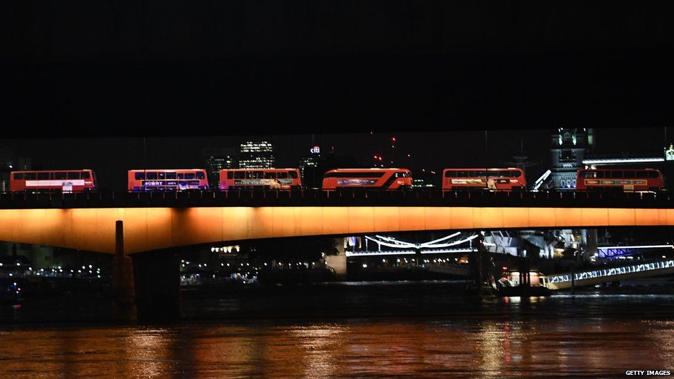 Night buses on London Bridge