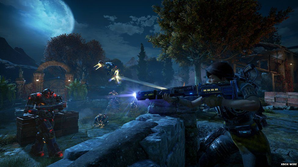 This is a photo of combat during Gears of War.