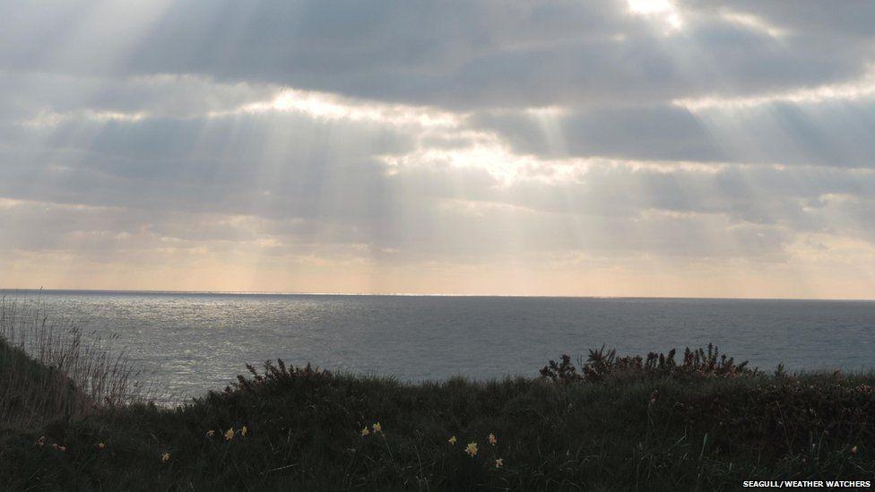 Sun beams over water