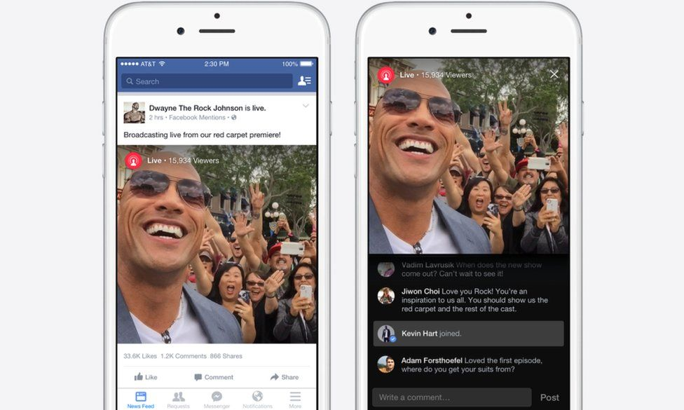 """Live video for Facebook with Dwayne """"The Rock"""" Johnson"""