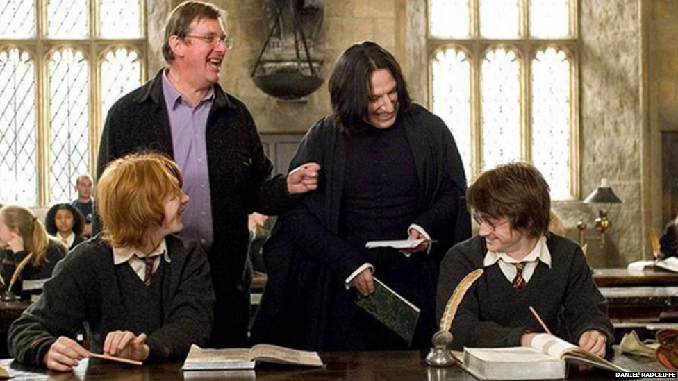 Daniel Radcliffe uploaded a picture on set with Alan Rickman