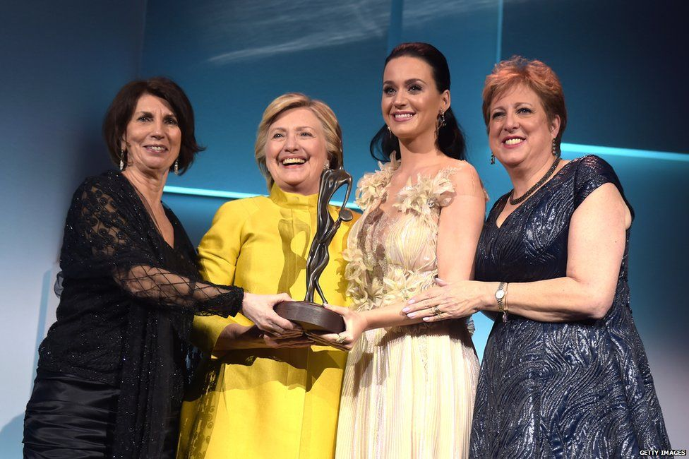 Pamela Fiori, Hillary Clinton, Katy Perry and Caryl Stern