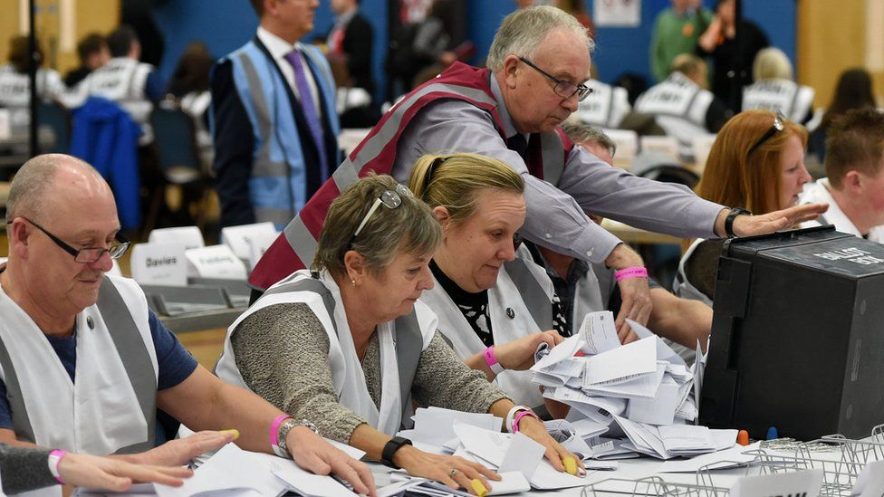 People counting ballot papers