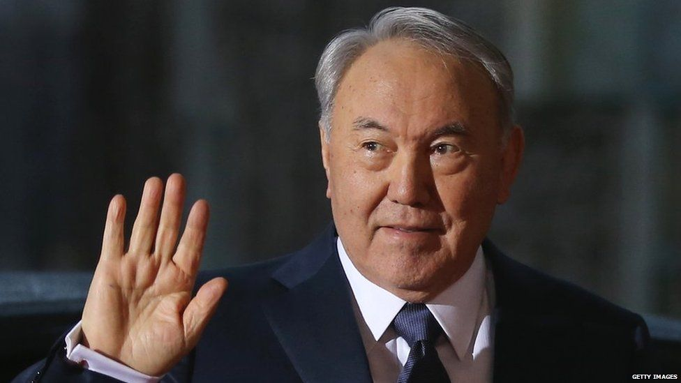 Kazakh President Nursultan Nazarbayev visits Germany in January 2015.