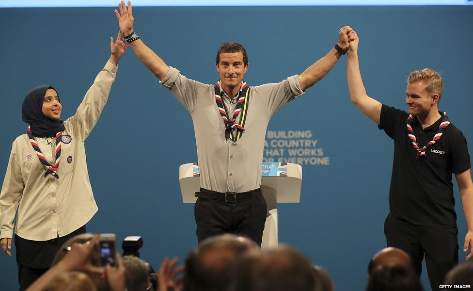 Bear Grylls (centre) is among those who have spoken at the conference