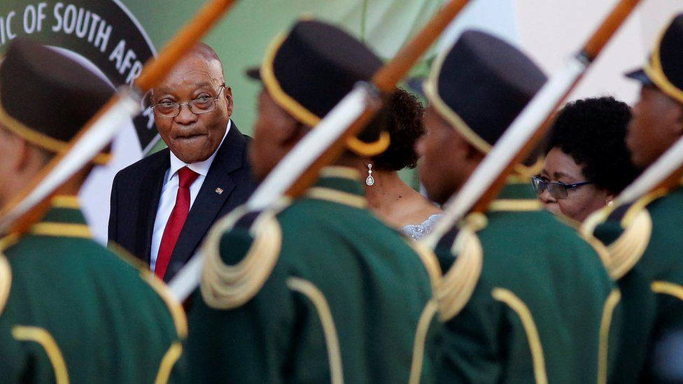 President Jacob Zuma and a guard of honour at parliament in Cape Town, South Africa - Thursday 9 February 2017