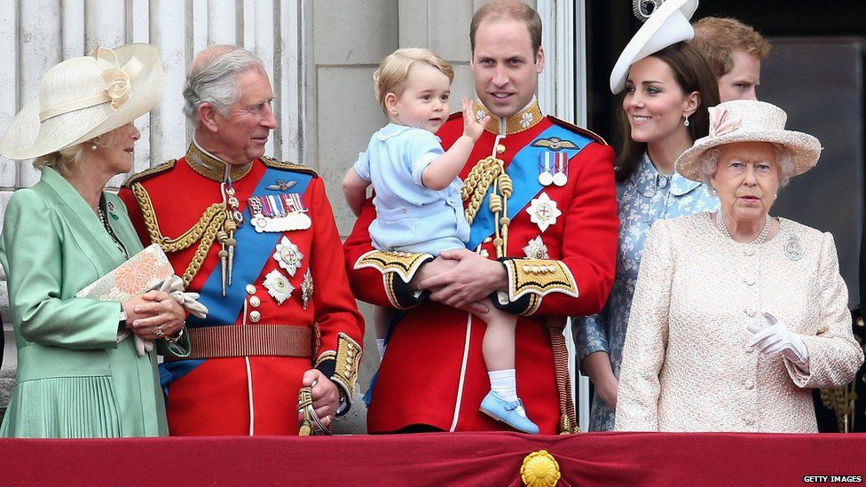 The Duchess of Cornwall, Prince Charles, Prince George, Prince William, Duchess of Cambridge and Queen Elizabeth II on the Buckingham Palace balcony