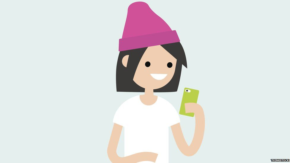 Cartoon woman in a hat on her phone