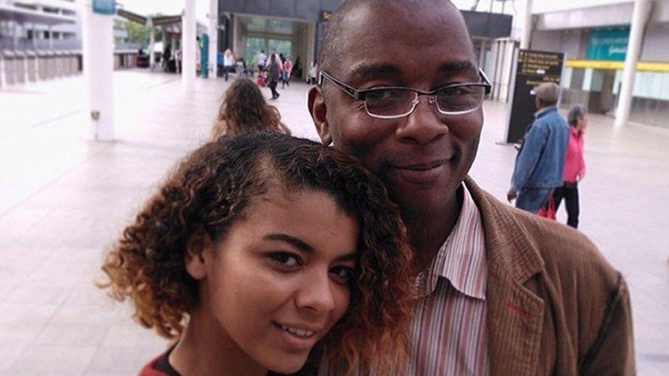 Kleyo De Abreu, with her dad Bernard Atwell