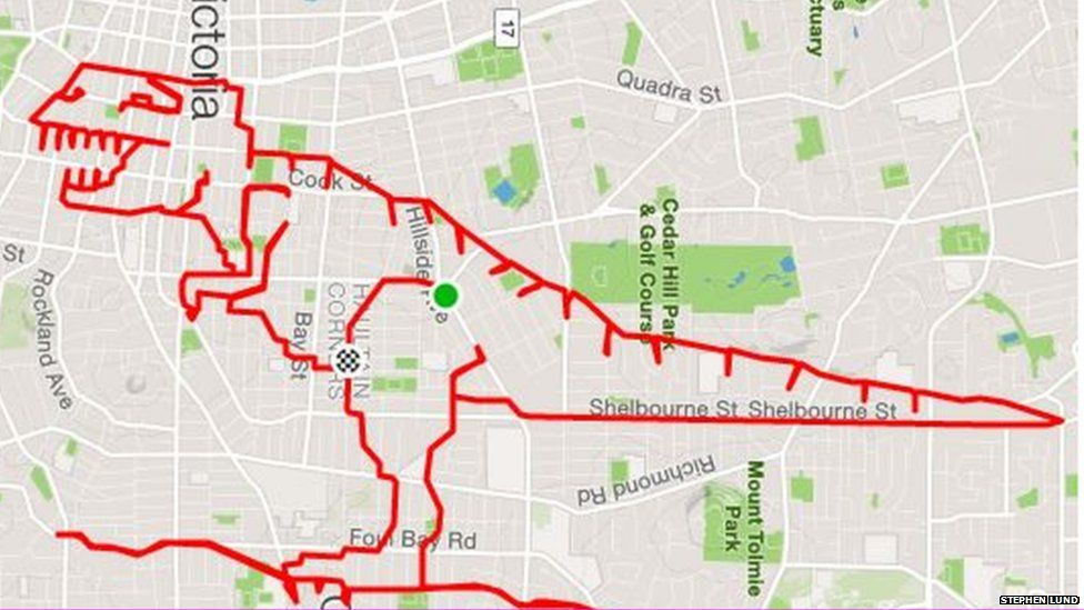 A gps drawing of a T-Rex