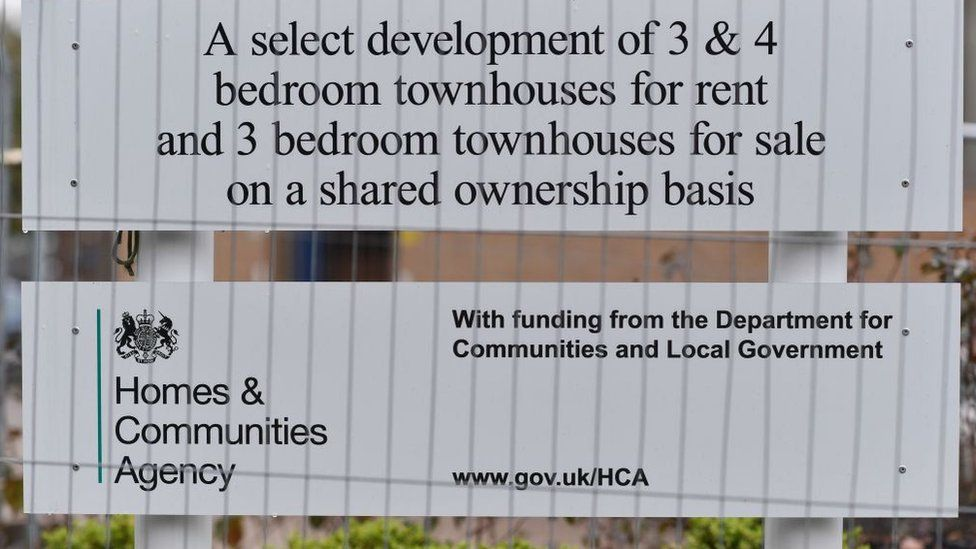 A sign promoting shared ownership homes