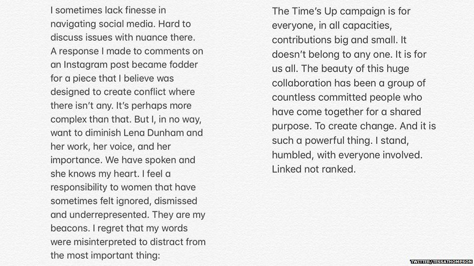 Twitter statement from Tessa Thompson