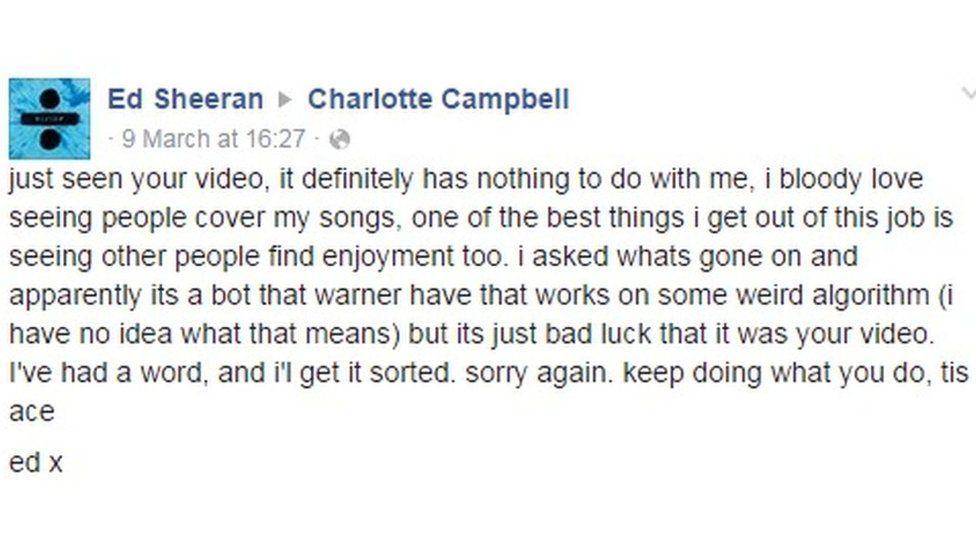 Ed Sheeran posted on Charlotte's wall